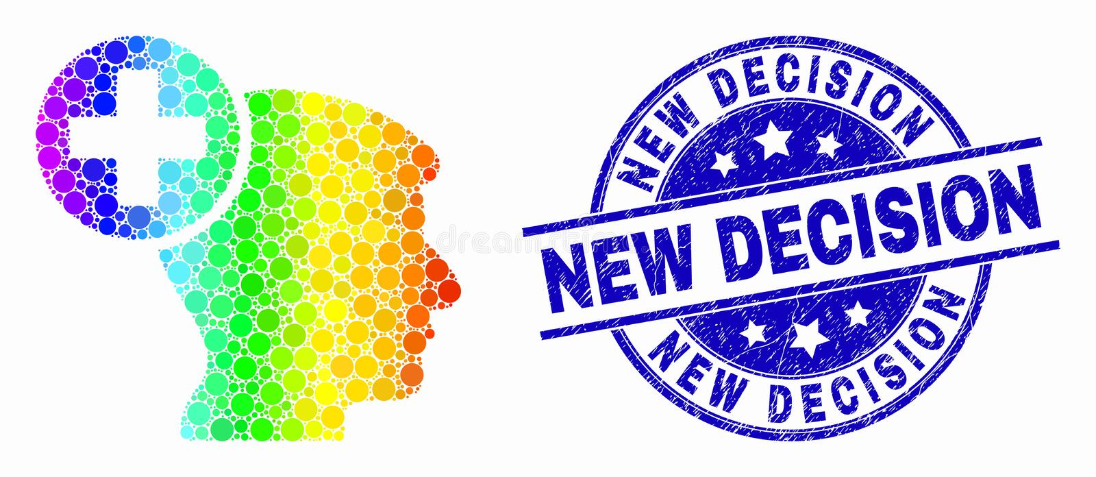 Vector Spectrum Dotted Head Medicine Icon and Scratched New Decision Stamp Seal. Pixel rainbow gradiented head medicine mosaic pictogram and New Decision stamp royalty free illustration