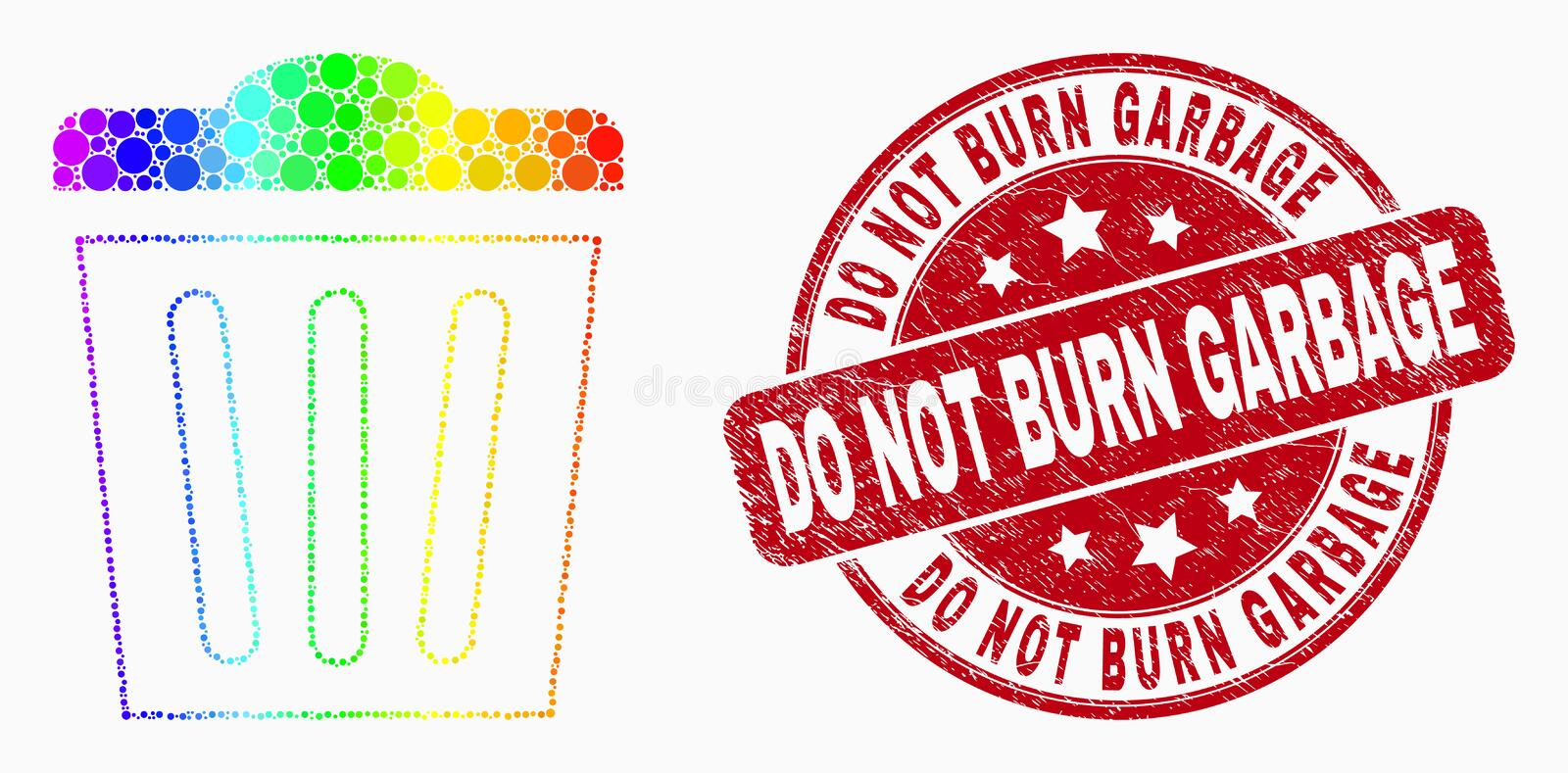 Vector Spectrum Dotted Trashcan Icon and Scratched Do Not Burn Garbage Seal royalty free illustration