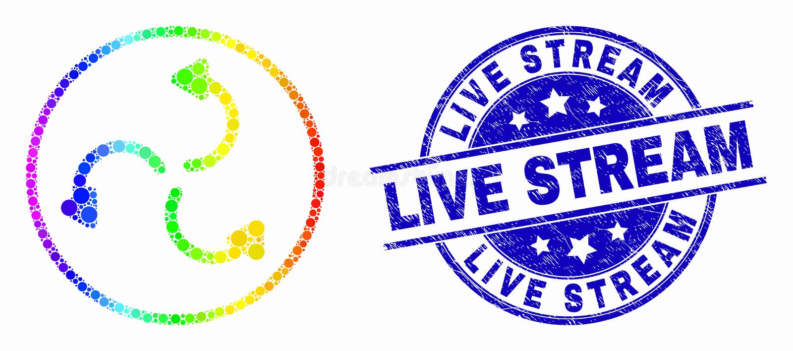 Vector Spectrum Pixel Cyclone Arrows Icon and Distress Live Stream Stamp. Dotted rainbow gradiented cyclone arrows mosaic icon and Live Stream seal stamp. Blue stock illustration