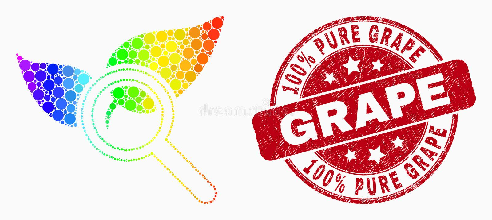 Vector Spectrum Pixel Search Flora Plant Icon and Grunge 100 Percent Pure Grape Stamp Seal vector illustration