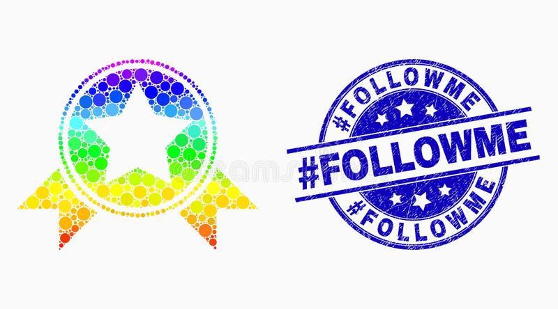 Vector Spectrum Pixel Star Award with Ribbons Icon and Scratched Hashtag Followme Stamp Seal vector illustration
