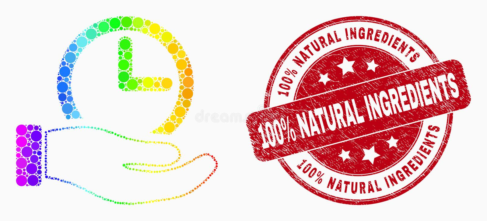Vector Spectrum Pixel Time Service Hand Icon and Scratched 100 Percent Natural Ingredients Seal stock illustration