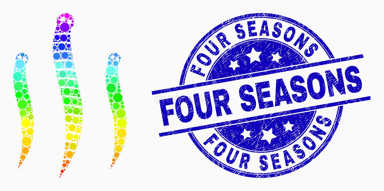 Vector Spectrum Pixel Worms Icon and Distress Four Seasons Watermark vector illustration