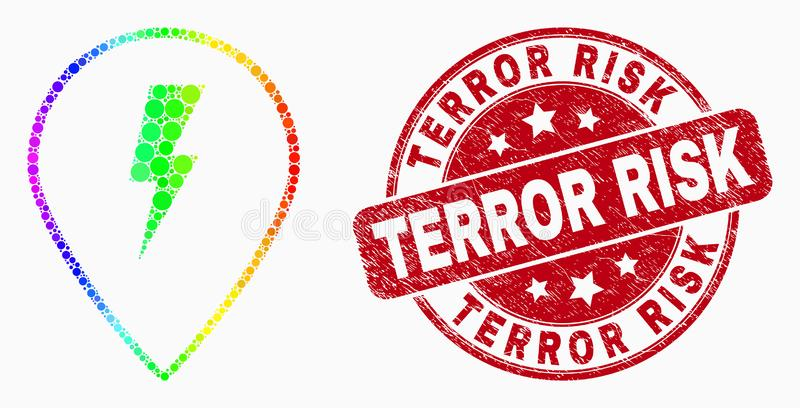 Vector Spectrum Pixelated Electric Map Marker Icon and Scratched Terror Risk Stamp Seal. Dotted spectrum electric map marker mosaic icon and Terror Risk seal stock illustration