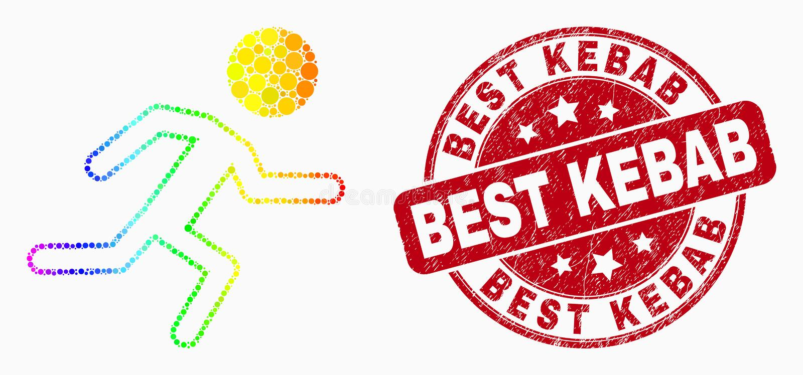 Vector Spectrum Pixelated Running Boy Icon and Scratched Best Kebab Seal vector illustration