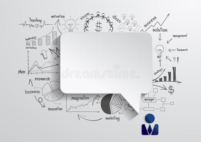 Vector speech bubble with drawing business strateg stock illustration