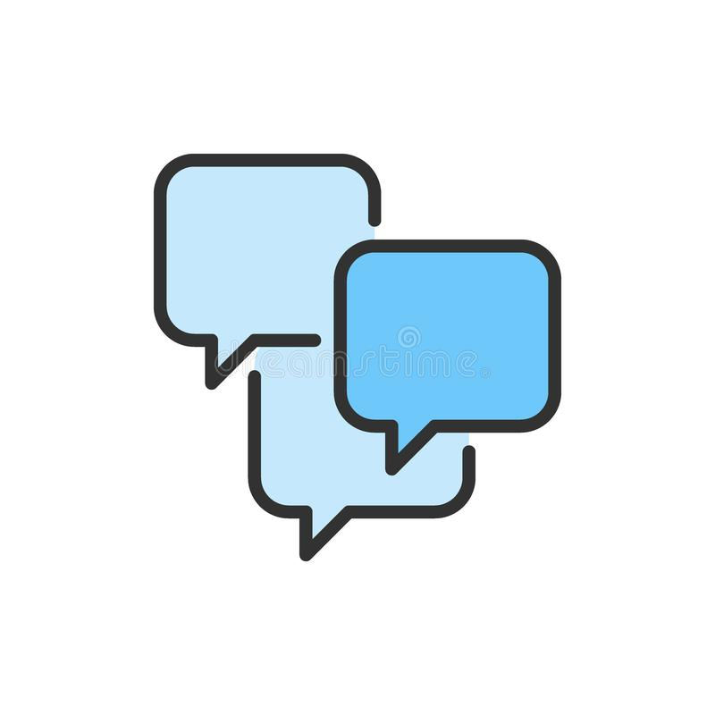 Vector speech bubbles, sms, chat, comments flat color line icon. royalty free illustration