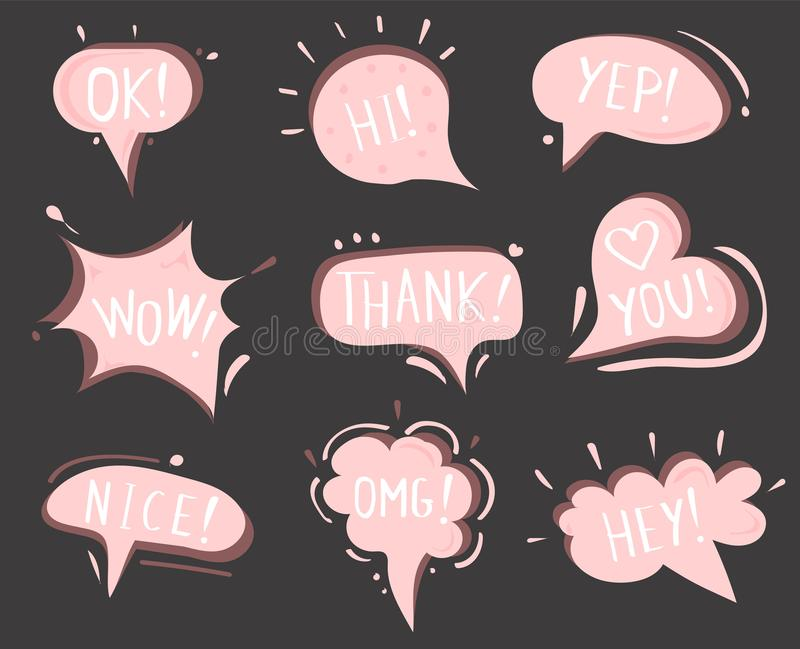Vector speech clouds.  Collection of pink stickers, icons. Chat bubbles royalty free illustration