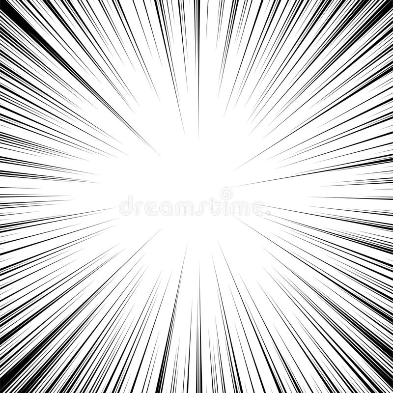 Vector radial speed cartoon. motion line background stock illustration