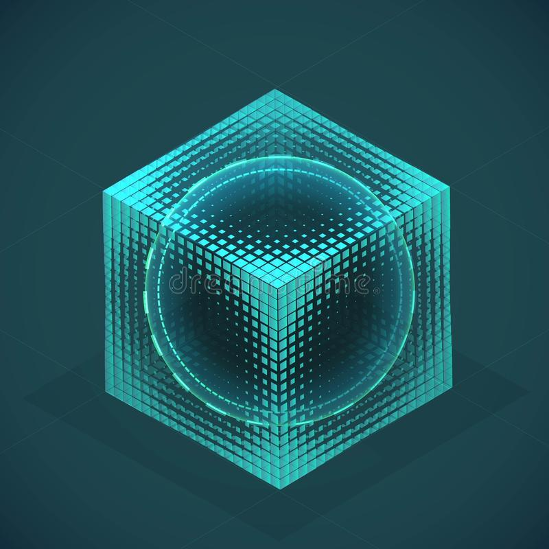 Vector sphere in cube isometric hologram. Abstract geometric flat shape royalty free illustration