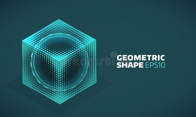 Vector sphere in cube isometric hologram. Abstract geometric flat shape vector illustration