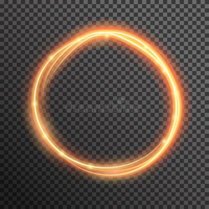 Vector spiraalvormige de golflijn van de brandfonkeling met het vliegen het fonkelen flitslichten royalty-vrije illustratie
