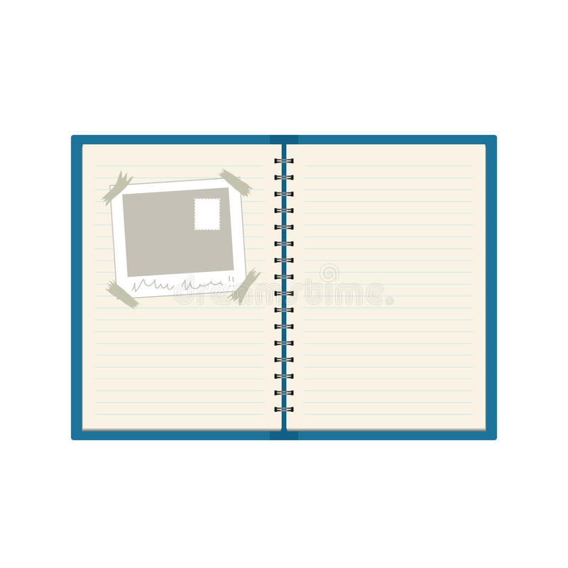 Spiral-bound notebook. Vector spiral-bound notebook with a photo stuck on one of the pages royalty free illustration