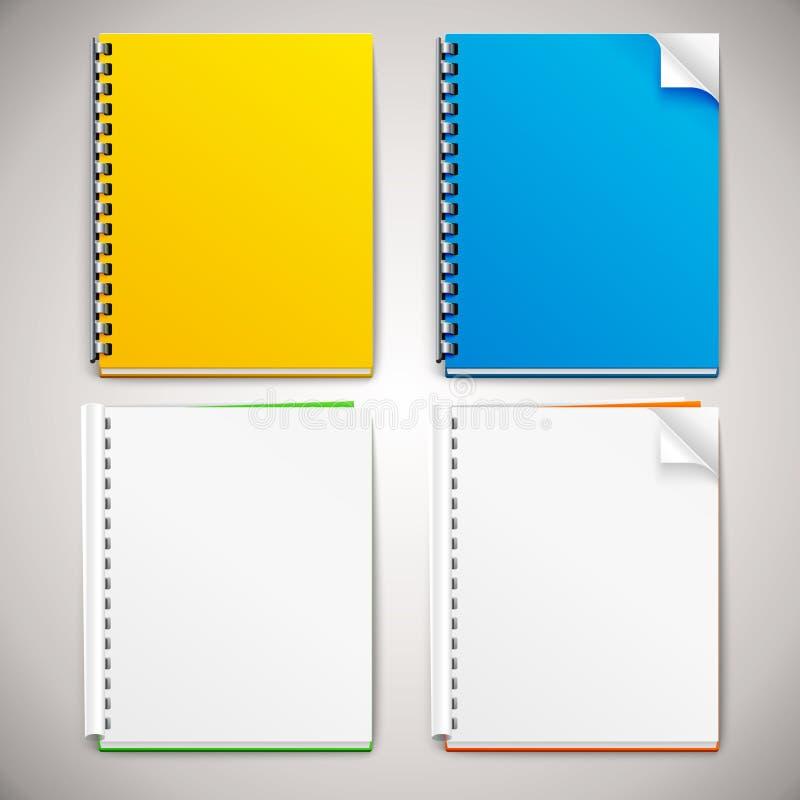 Vector Spiral Ring Notebooks. On grey background stock illustration