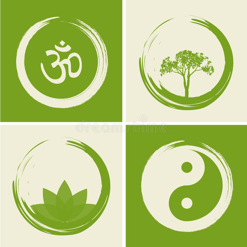 Vector Spiritual Logos Set Illustration with Hindu Word Om stock illustration