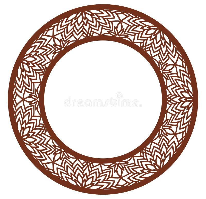 Vector Spitzen- runden Rahmen der Schablone mit geschnitztem openwork Muster Schablone für Innenarchitektur, Pläne, welche die Ei vektor abbildung