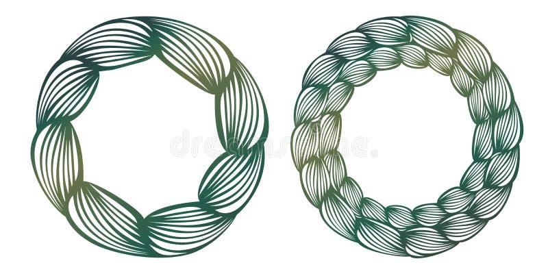 Vector Spitzen- runden Rahmen der Schablone mit geschnitztem openwork Muster lik vektor abbildung