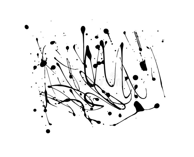 Vector splashes of blobs of drops, for decoration, ink spots of paint, thick ink stripes. Thick ink stripes, splashes of blobs of drops, for decoration, ink stock illustration