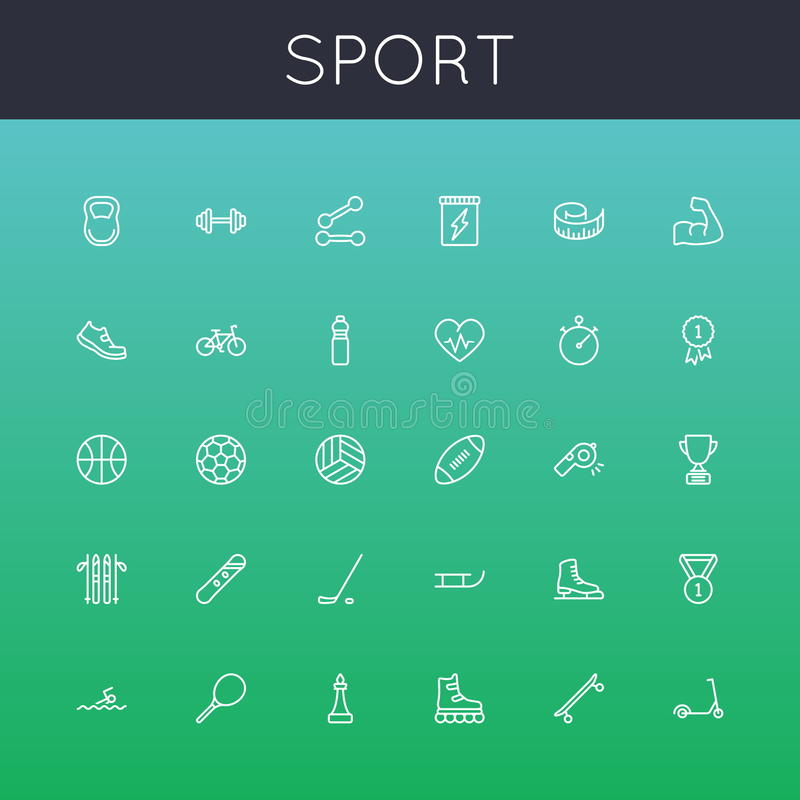 Vector Sport Line Icons royalty free illustration