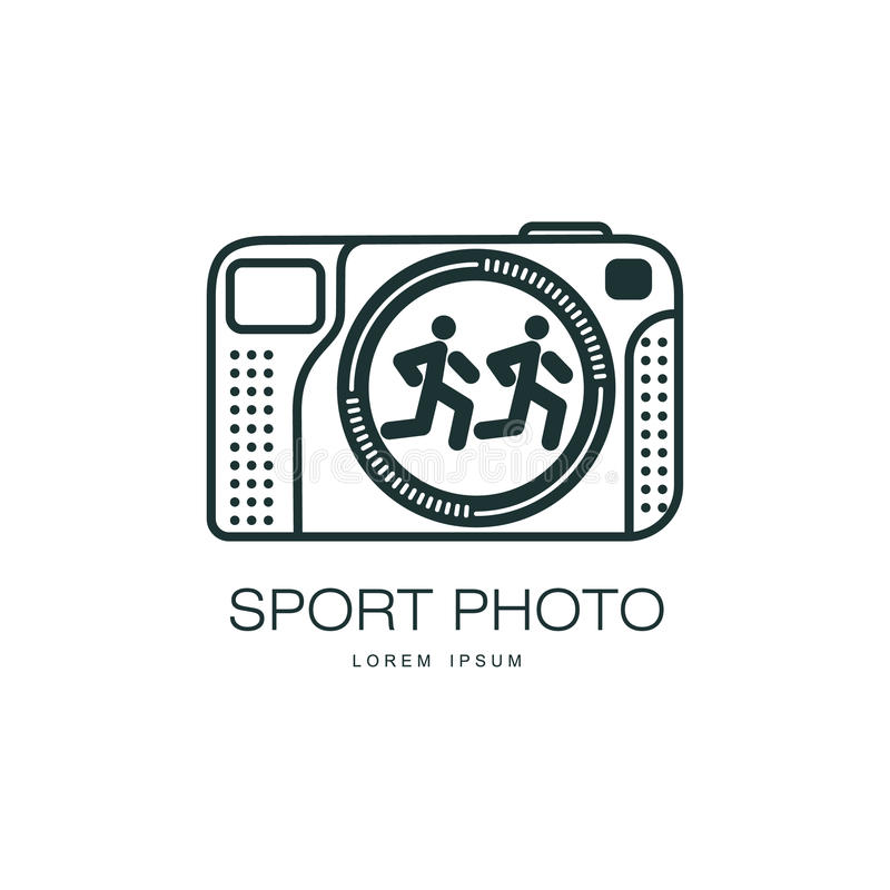 Vector sport photo camera icon isolated. Vector sport photo camera icon. Flat cartoon isolated illustration on a white background. Logo brand concept for photo royalty free illustration