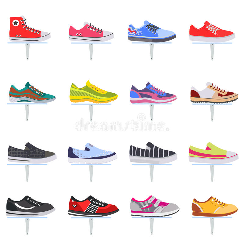 Vector sport shoes sneakers collection set. Elegant color flat icon set. Vector sport shoes sneakers collection set. Elegant color flat icon set royalty free illustration