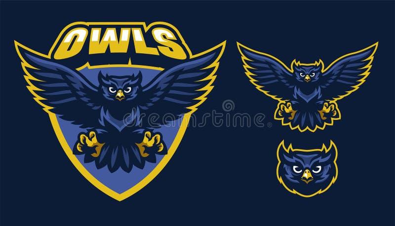 Sport style of owl mascot royalty free illustration