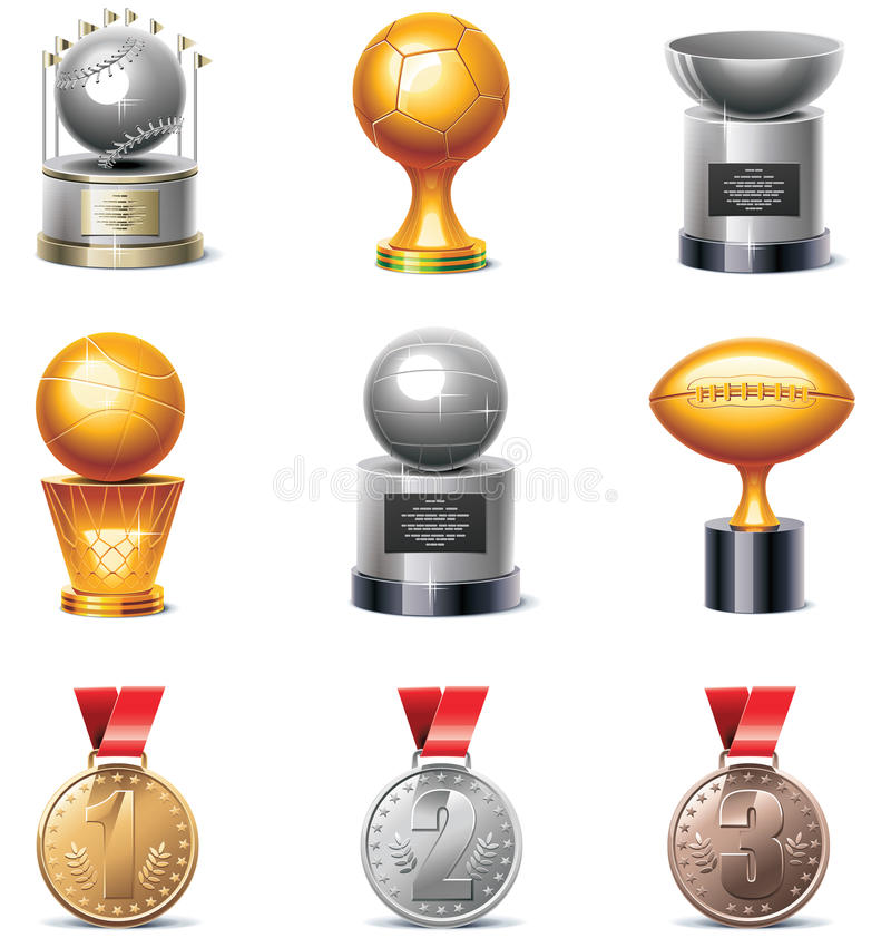 Download Vector Sport Trophies And Medals Icon Set Stock Vector - Image: 18184873