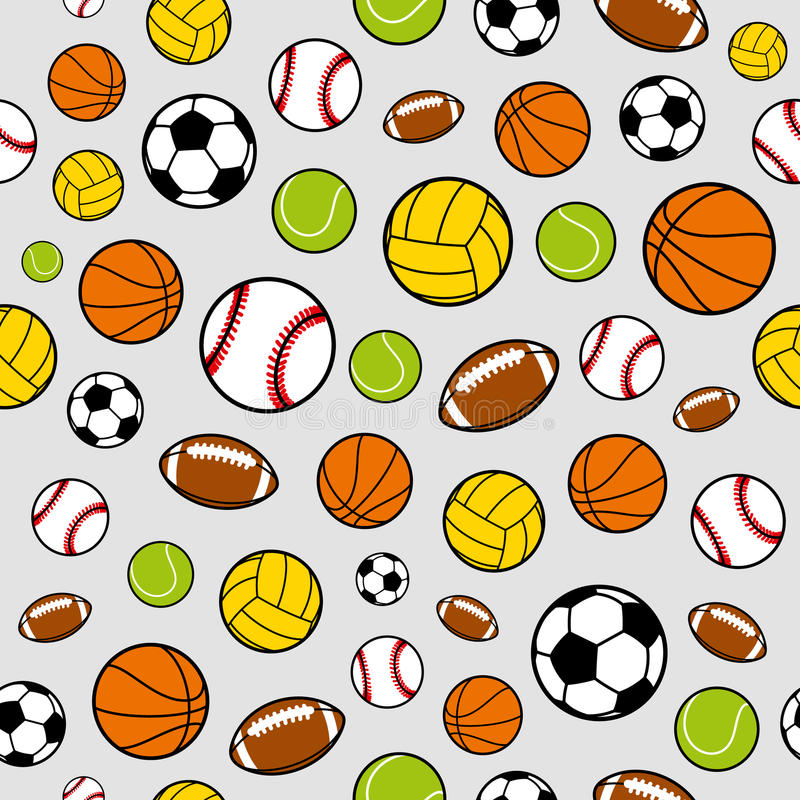 Download Vector Sports Balls Seamless Background Equipment Pattern Stock