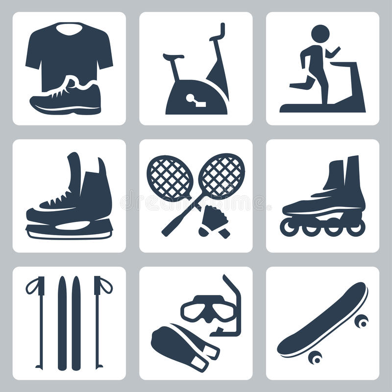 Vector sports goods icons set. Sportswear, stationary bicycle and treadmill, skates, rackets and shuttlecock, roller skates, skis, diving mask and flippers vector illustration