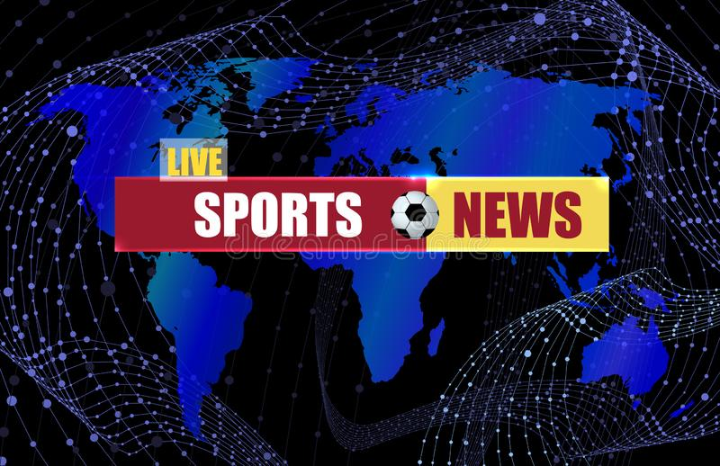 Vector Sports News Background with World Map Silhouette and Soccer Ball Sign, Deep Blue Color. stock illustration