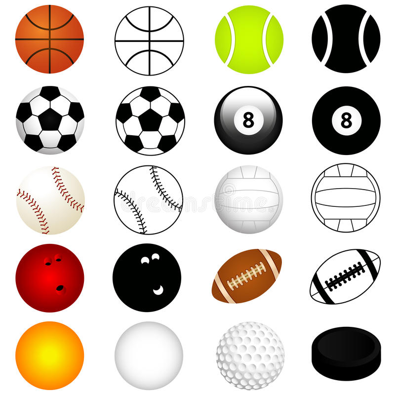 Vector Sports Set : Balls in color and silhouette stock illustration
