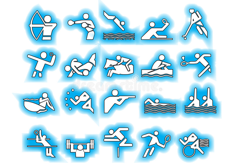 Download Vector Sports Symbols Blue Stock Photography - Image: 4513492