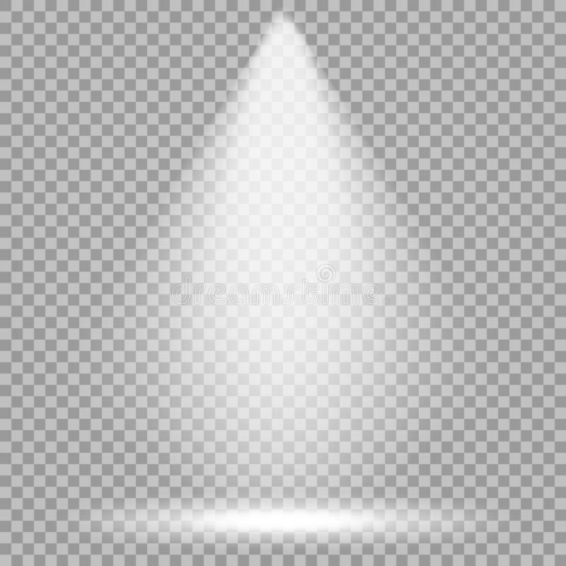 Vector spotlight. Bright light beam. Transparent realistic effect. Stage lighting. Vector spotlight. Bright light beam. Transparent realistic effect. Stage royalty free illustration