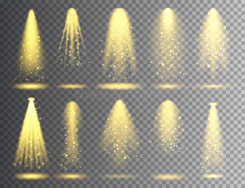 Vector spotlight set. Bright Christmas glowing light beam with sparkles. Transparent realistic glitter effect. Stage. Lighting vector illustration