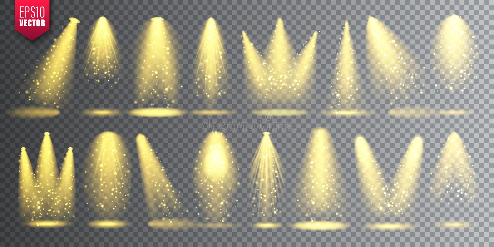 Vector spotlight set. Bright Christmas glowing light beam with sparkles. Transparent realistic glitter effect. Stage. Lighting royalty free illustration