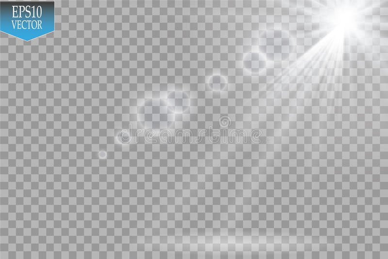 Vector Spotlights. Scene. Light Effects.Vector transparent sunlight special lens flare light effect. Sun flash with rays royalty free illustration