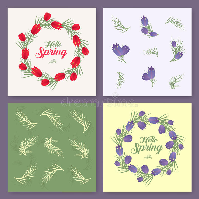 Vector spring background. Spring time. Spring flowers and leaves on tree. Round frame. Handwritten brush lettering. Vector card te vector illustration