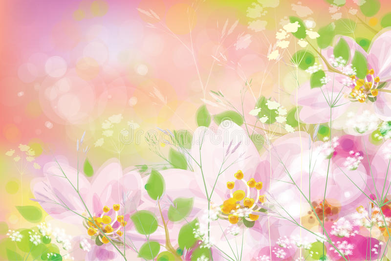 Vector spring floral background. stock illustration