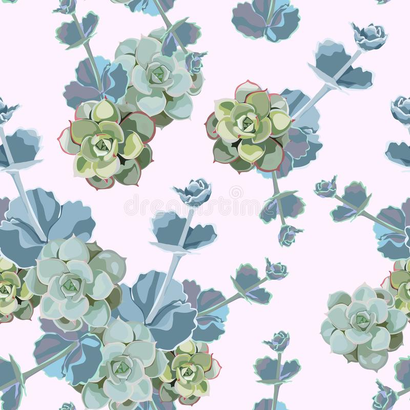 Vector spring flower seamless pattern with succulents. Elegant tender design. Can be used as greeting, wedding background. stock illustration