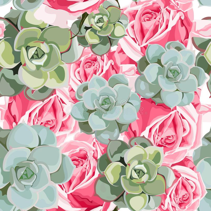 Vector spring flower seamless pattern with succulents and pink roses. Elegant tender design. stock illustration