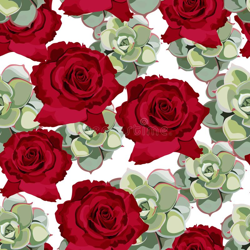 Vector spring flower seamless pattern with succulents and red roses. Elegant tender design. royalty free illustration