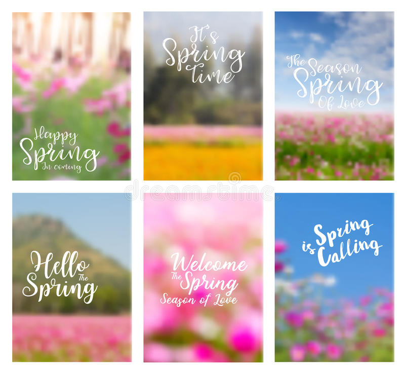 Vector spring flowers ideas concept with positive quotes stock illustration