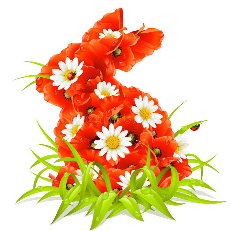 Free Vector Spring Flowers In The Shape Of Easter Rabbi Royalty Free Stock Image - 13414916