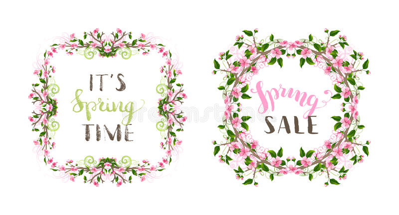 Vector spring frames set. Pink cherry blossoms and leaves on tree branches, hand-drawn flourishes. Hello spring lettering. Seasonal page decorations on white stock illustration