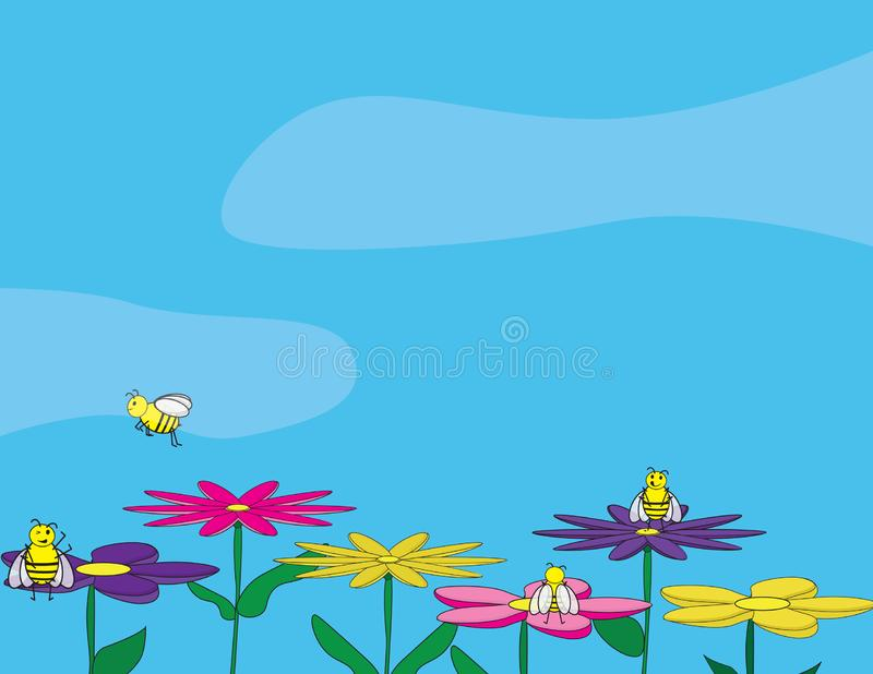 Vector spring illustration. Cute bees on colorful flowers. Cute bees sitting and standing on colorful flowers. Blue sky background vector illustration