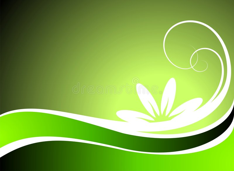 Vector spring illustration with flower. On green background royalty free illustration
