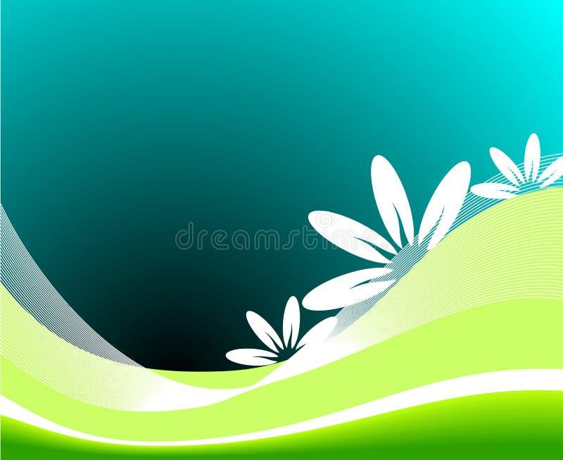 Vector spring illustration with flower. On blue background royalty free illustration