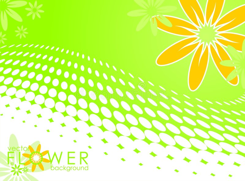 Vector spring illustration with flower. On circle pattern background vector illustration