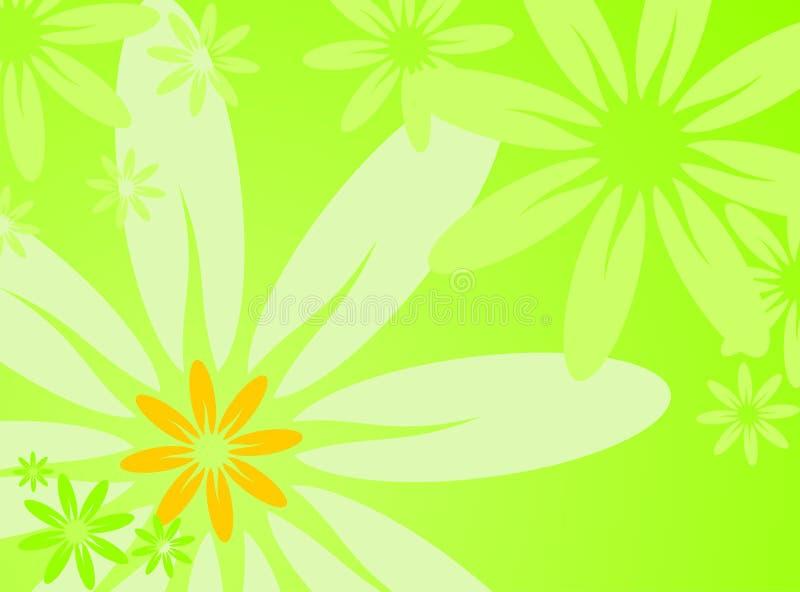 Vector spring illustration with flower. On green background vector illustration
