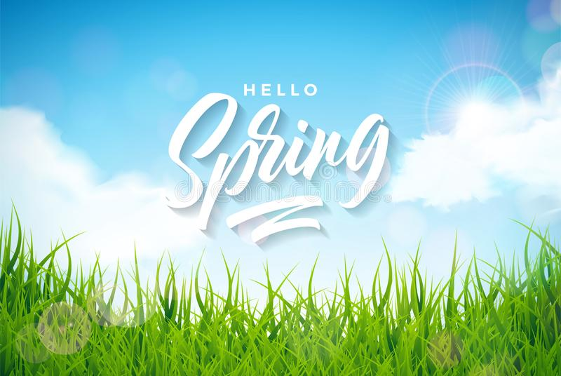 Vector spring illustration with green grass on nature landscape background. Floral design template with typography. Letter